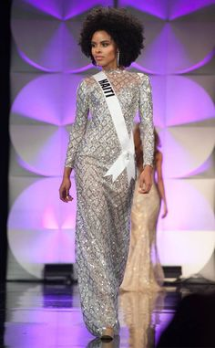 Miss Universe Curacao 2019 from Miss Universe Preliminary Evening Gown Competition Miss France, Beauty Pageant, Haiti, Evening Gowns, Competition, Meet, Saree, Fashion, Universe