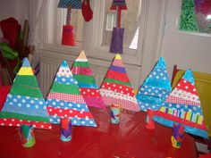 Christmas trees made by children in Emma's Art Room Surface Pattern Design, Textile Design, Christmas Trees, Crafts To Make, Crafty, Children, Room, Art, Xmas Trees