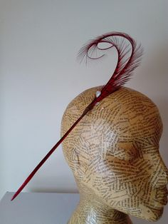 Millinery Feathers - Double burnt curled pheasant feathers - Red - Millinery supplies, trim, hat, fascinator, races, weddings