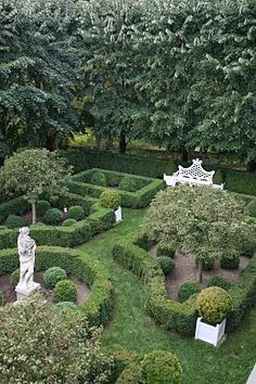 """Another view of Carolyne Roehm's gardens at her country home, """"Weatherstone"""" in Sharon, Connecticut.  Another example of a structured garden."""