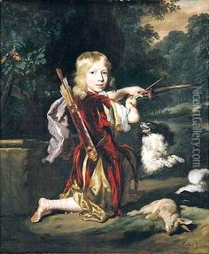 Portrait Of A Young Man, Full Length, Wearing A Red Tunic, And Holding A Bow And Arrow, With A Spaniel And A Hare Oil Painting - Nicolaes Maes