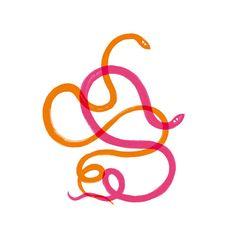 Elisa Mac 'Tangled snakes' illustration www.elisamac.com