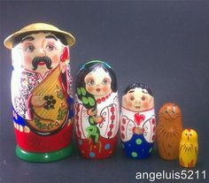 5 Piece Russian Doll Matryoshka Nesting Doll Family Stucking Doll Cat Bird | eBay