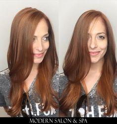 Copper hair by Samantha Salazar at Modern Salon & Spa in Charlotte, NC.