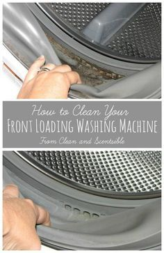 Learn how to clean your washing machine to improve efficiency, get rid of mold and mildew, and eliminate that stinky washing machine smell for good! Household Cleaning Tips, Deep Cleaning Tips, Toilet Cleaning, House Cleaning Tips, Diy Cleaning Products, Cleaning Solutions, Spring Cleaning, Cleaning Hacks, Cleaning Mold