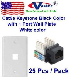 Vaster, 25 PCS / PACK - Cat5e Punch Down Keystone Jack BLACK Color, with 1port Rj 45 Keystone Wall Plate, White Color