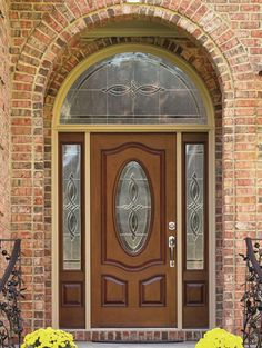 Benchmark By Therma Tru 36 In Oval Lite Decorative Mahogany Inswing Entry Door Home