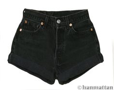 "ALL SIZES ""TURN"" Vintage Levi high-waisted denim shorts black cuffed rolled turn up jeans"