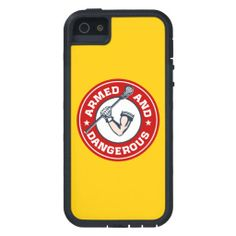 Lacrosse iPhone cover - Armed and Dangerous. Circular emblem design of muscular arm with glove holding lacrosse stick. Lacrosse iphone 5 case.