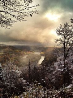 """First frost. Courson Island, Allegheny River, from the Tidioute overlook, Allegheny National Forest. It took my five years to get this shot. Part of our """"Wake up with the Allegheny..."""" series. Prints available at www.alleghenyoutfitters.com."""