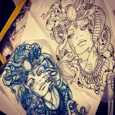 Another inspiration for my medusa stomach tattoo. I like the blank eyes and angle of get chin