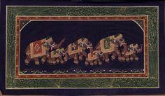 Ethnic Indian Elephant Miniature Painting Handpainted Watercolor Folk Decor Art