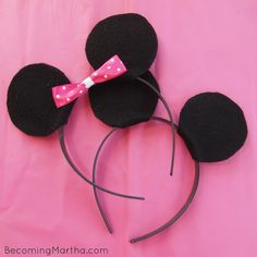 Becoming Martha: Minnie Mouse Party Favors. Instead of party hats, minnie or mickey ears