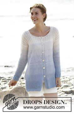 """Knitted DROPS jacket with rib and vent in the side 1 strand """"Alpaca"""" and 2 strands """"Kid-Silk"""". Free Pattern"""