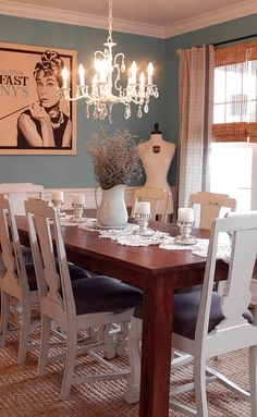 Combining a wood table w/shabby painted chairs.