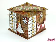 Adventi naptár gyufásdobozból - Manó kuckó Advent Calenders, Shadow Box, Altered Art, Cube, Decorative Boxes, Diy, Holiday Decor, Projects, Christmas