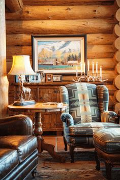 log home makeover detail  - Spectacular touches of turquoise in this lodge home! Love that chair!!