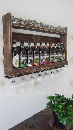 barzinho adega para cerveja- porta tampinhas e taças rústica