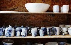 Handmade ceramics by Lucile Sciallano of La Petite Fabrique de Brunswick. Photo – Annette O'Brien for The Design Files. Ceramic Tableware, Glass Ceramic, Ceramic Pottery, Kitchenware, Studio Shed, Artisan & Artist, Paper Ribbon, Ceramic Studio, The Design Files