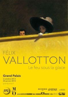 """affiche, peinture : exposition """"Félix Vallotton, le feu sous la glace"""", 2013, jaune et noir"""
