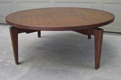 Jens Rison walnut lazy susan round coffee table swivel Danish modern eames teak #DanishModern