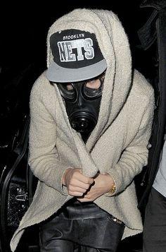 Justin Bieber ... in a gasmask