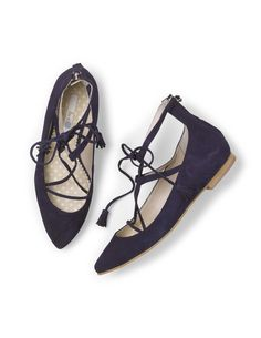 Lille Lace-up Point AR669 (Navy) Flats at Boden