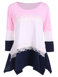 7b3c33a0142 3 4 Sleeve Color Block T Shirt Pretty Outfits