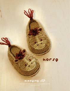 HorseBaby Booties Crochet PATTERN by kittying.com from mulu.us | This pattern includes sizes for 0 - 12 months.
