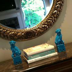 These are the turquoise foo dogs in my own house!