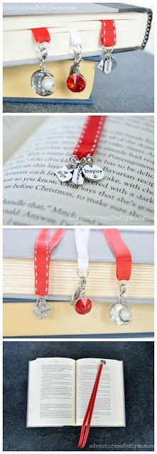 Ribbon Bookmarks - a simple 5 minute project. Learn to make a simple ribbon bookmark with charms. This easy 5 minute DIY is a great use of left over ribbon from other projects. The charms add a pretty accent. Beaded Bookmarks, Diy Bookmarks, How To Make Bookmarks, Ribbon Bookmarks, Photo Bookmarks, Bookmark Ideas, Bookmark Craft, Crochet Bookmarks, Ribbon Art