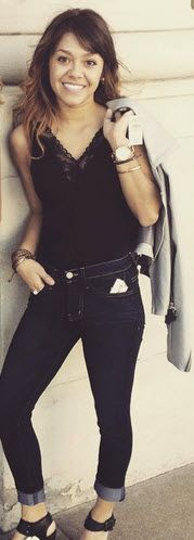 Trending Now: Bodysuits. A black bodysuit, dark denim and chic jacket makes for one outfit stunner!