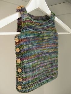 Pebble (Henry's Manly Cobblestone-Inspired Baby Vest) by Nikol Lohr. malabrigo Rios, Indiecita color.