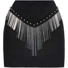 Anthony Vaccarello Metal-tube embellished suede mini skirt (635 CAD) ❤ liked on Polyvore featuring skirts, mini skirts, anthony vaccarello, black, bottoms, mini skirt, short fringe skirt, short skirts, short mini skirts and fringe skirt