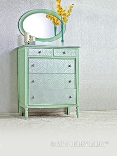 Fancy up a flea market find with a zebra print stencil and some gorgeous metallic paint! Pull out the drawers and remove the hardware to replicate a dresser like this one. You can paint the accents (trim, pulls, etc.) while you wait for the stenciled design to dry.