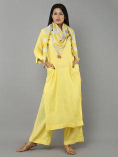Yellow Khadi Cotton Kurta with Palazzo and Scarf - Set of 3