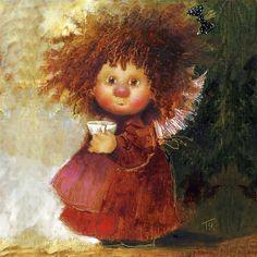 Just a sweet little painting. Artwork Images, Art Pictures, Decoupage, Kobold, Angels Among Us, Angel Art, Cute Art, Art For Kids, Illustration Art