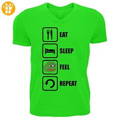 Eat Sleep Feel Repeat Funny Pepe Graphic Design Men's V-Neck T-shirt XX-Large (*Partner-Link)