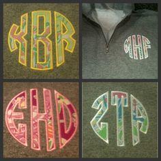 1/4 Zip sweatshirt with Lilly Pulitzer fabric round monogram applique in Oxford or Navy.. $35.00, via Etsy.