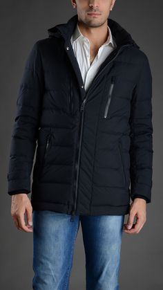 Herno Quilted down jacket with removable hood, four pockets, buttoned cuffs, zip fastening #Herno