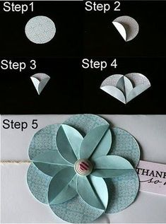 Use a punch to punch out circles & then fold into an origami flower! Use a punch to punch out circles & then fold into an origami flower! Diy Paper, Paper Crafting, Paper Cards, Papier Diy, Craft Punches, Circle Punch, Punch Punch, Hole Punch, Card Making Techniques