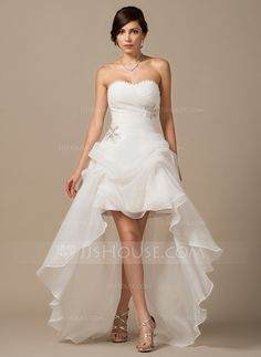 [US$ 177.49] A-Line/Princess Sweetheart Asymmetrical Organza Wedding Dress With Ruffle Beading Sequins