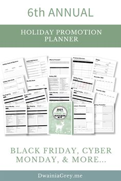 The 2021 Holiday Promotion Success Kit is the ultimate planner to capture holiday sales.6th ANNUAL - REVISED AND UPDATED FOR 2021 WITH NEW PAGES AND MORE HOLIDAY PROMO IDEASUse this 4th Quarter Planner to plan your custom holiday promotions as well as Christmas, Thanksgiving, Black Friday, Cyber Monday, Giving Tuesday, and more. Buy Now! #blackfriday Budget Holiday, Holiday Sales, Social Media Cheat Sheet, Giving Tuesday, Budget Template, Goals Planner, Holiday Fashion, Cyber Monday, Black Friday