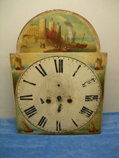 19th Century English Grandfather Clock Face Movement Antique Painted Castle SHIP | eBay