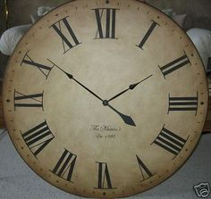 Large Wall Clock 36 Antique Look Tuscan Huge Wood Personalized Oversized Bathroom Clocks