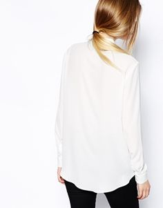 simple low ponytail, white shirt and black pants #style #fashion