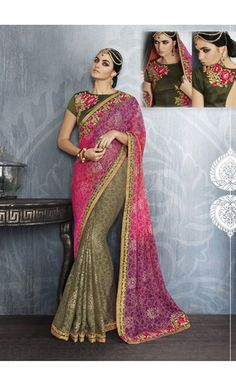 Picture of Impressive Mehndi Green and Hot Pink Party Wear Saree