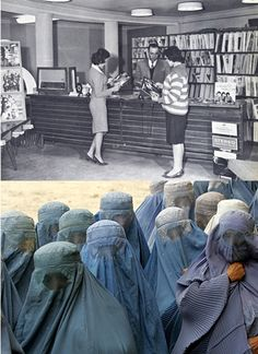 Afghan Women in 1950 and now. One wonders how this could have taken place, but it is happening right now in front of your eyes in Syria! A well developed and civilized  country is being dismantled and taken back into the stone ages by EXTERNAL forces. This is how history repeats itself when not thought and learned!