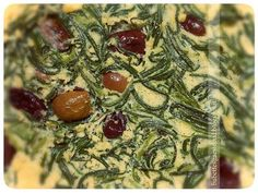 Babettes gæstebud.: Baked omelette with caprino cheese, agretti  and o...