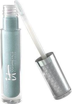 """News Anchor Blue Vitality Lip Flush Butter Gloss By IT Cosmetics. """"This is one of the of the best kept secrets you'll love! Our News Anchor Blue shade goes on completely clear on your lips but it's infused with blue micro-crystals that counteract yellow in your teeth and give you and brighter, whiter smile!"""